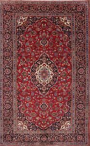 Vintage Traditional Hand Knotted Wool Floral Red 8x12 Persian Oriental Area Rug