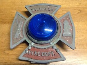 Vintage Maltese Cross Emergency Fire Truck Blue Light Arrow Valhalla Fire Dept