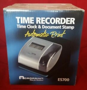 Acroprint Es700 Time Recorder Time Clock Document Stamp Brand New