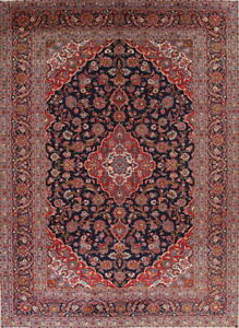 Vintage Navy Blue Red Traditional Floral Persian Large Rug Oriental Wool 10x13