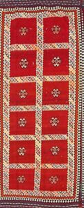 Rare 5x11 Vintage Vegetable Dye Tribal Persian Rugs Hand Woven Kashkuli Red Wool
