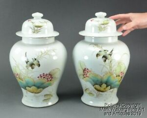 Pair Chinese Famille Rose Porcelain Covered Vases Birds Lotus 19 20th C