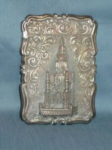 Antique Mills Silver Card Case Scott Memorial Birmingham 1857 Castle Top