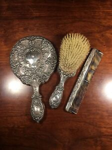 Antique Gorham Sterling Silver Vanity Set 23 Mirror Brush Comb Monogrammed Mes