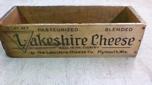 Vintage Cheese Crate Wooden Box Lakeshire Plymouth Wisconsin