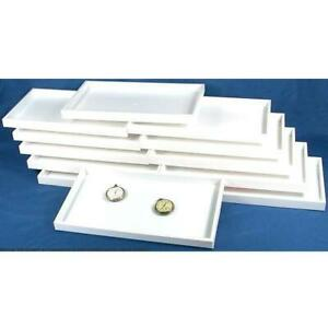 12 White Plastic Display Trays