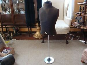 Male Vintage Mannequin 1920 s 30 s Complete With Art Deco Chrome Stand 1 2 Torso