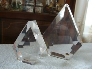 Mid Century Modern Vintage Pair Thick Lucite Bookends Diamond Shaped Astrolite