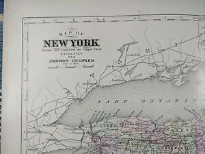 Vintage 1876 New York Map Old Antique Original Manhattan Long Island Queens Mapz