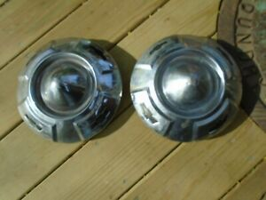 Vintage Pair Chevrolet Bowtie Dog Dish Poverty Hubcaps