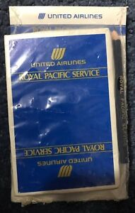 Vintage United Airlines Royal Pacific Service Playing Cards Pad Pencil Sealed $10.00