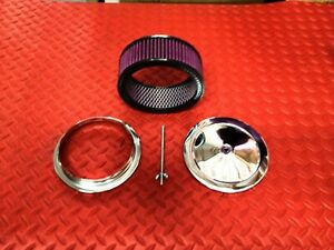 Air Cleaner Chrome Muscle Car 6 3 8 Inch W Washable Filter Triple Chrome S2292x