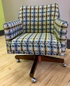 Vintage Mid Century Office Desk Chair W New Upholstery Modern Mcm