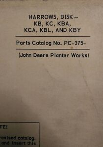 John Deere Planter Gang Disc Harrow K Kc Kba Kca Kbl Kby Parts Manual Pc 375
