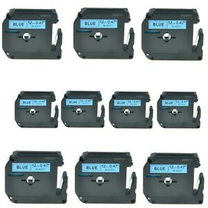 10pk Black On Blue Label Tape M k531 Mk531 For Brother P touch Pt 85 1 2 12mm