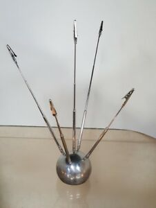 Vtg Mid Century Sputnik Atomic Chrome Ball Telescopic Antenna Card Holder