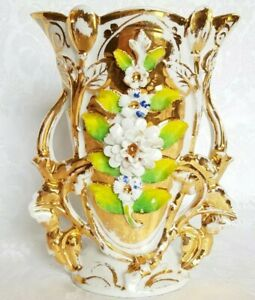 Antique Italian Gold Gilded Figural Porcelain Vase With Applied Flowers
