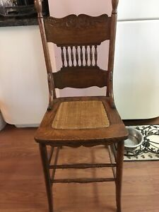 Golden Oak Chair Pressed Back With Cane Seat Youth Chair