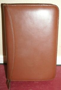 Franklin Covey Pocket Planner 6 Ring Brown Binder W Pages Full Grain Leather