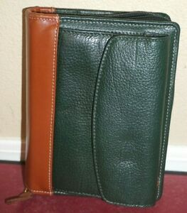 Franklin Covey Pocket Planner 6 Ring Green Brown Wallet Binder Top Grain Leath