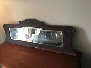 Antique Oak Mirrored Topper For China Cabinet Bookcase Beveled