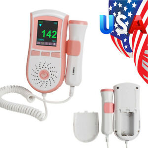 Usa Lcd Pocket Fetal Doppler 3mhz Baby Heart Beat Sound Monitor Home Clinic Dual