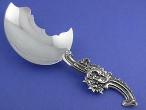 Unusual Sterling Shiebler Serving Spoon Aesthetic W Scroll Floral Design 3588