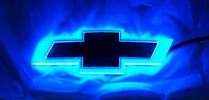 New For Chevrolet Backlit Gold Blue Led Bowtie Badge Emblem Lamp Free Ship