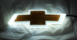 New For Chevrolet Backlit Gold White Led Bowtie Badge Emblem Lamp Free Ship