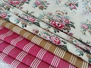 Antique Vintage French Fabric Coordinates Bundles For Projects Floral Ticking