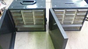 2 Vintage Akro Mils Metal Covered Cabinets Storage Wall Organizers 13 Drawers