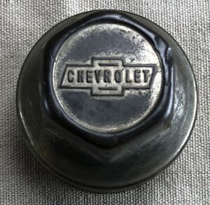 Original Chevrolet Brass Threaded Hubcap With Block Letters Inside Bowtie