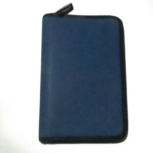 Day timer Suede Blue Zippered 1 Inch Planner Cover With Multi pockets Portable