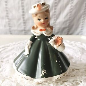 Vintage Girl Ceramic Figurine Green Victorian Dress Basket Hat Unmarked