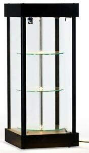 Spinning Glass Display Case W Halogen Top Lights 14 1 4 w X 34 h X 14 1 4 d