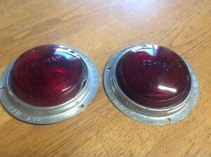 Early Pair Do ray 1173 Red Glass Lens Marker Lamp Travel Trailer Vintage Truck