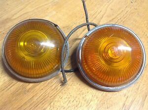 Amber Pair Travel Trailer Marker Lights Glass Lens Dietz 52 Lamp Vintage Truck