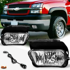For 02 06 Chevy Silverado avalanche Clear Lens Bumper Fog Light lamp switch Pair