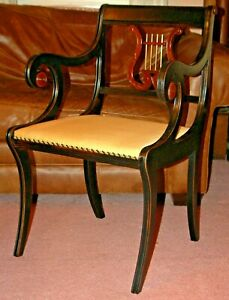 Antique Mahogany Neoclassical Chair Black Gold Early 20th C Duncan Phyfe Greek