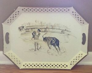 Vintage Toleware Hand Painted Nashco Bull Toreador Large Serving Tray Signed