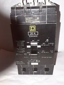 Square D Edb34020 3 Pole 20 Amp 480v Bolt On Circuit Breaker