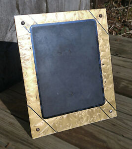 Vintage Art Deco Gold Black Reverse Painted Glass 8x10 Desk Easel Picture Frame