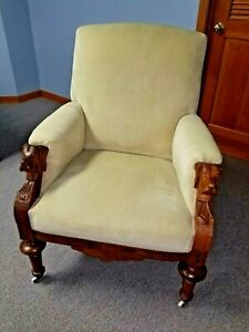 Antique Walnut Upholstered Easy Chair With Carved Dog Head Arms Circa Late1800s