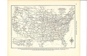 1947 Vintage Transcontinental Mileage Chart Of U S Map Ready To Frame For Art