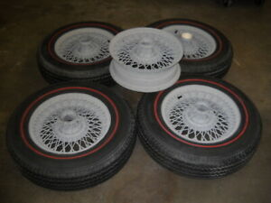 4 Classic Jaguar Vantage 50s 60s Wire Wheels With 5 Michilin Red Line Tires