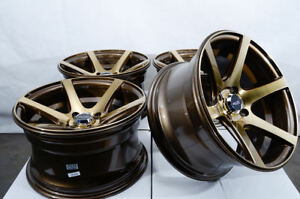 15x8 4x100 Bronze Wheels Fits Scion Ia Iq Xa Xb Honda Civic Insight 4 Lug Rims