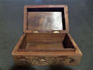 Old Hand Carved Wood Box