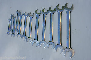 Snap on Tools Standard Length Open End Wrench Set 12pc