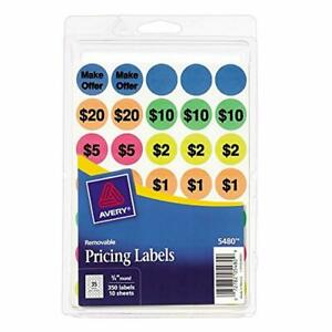 Avery Preprinted Removable Garage Sale Labels 0 75 Inches Round Pack Of 350