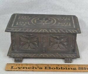 Antique Hand Carved Wooden Box Small Miniature Blanket Ornate 19th C 7 X 3x 3